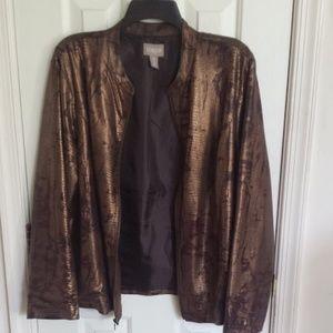 "CHICO""S Bronze Jacket Size 3 (XL) ZIp EUC"
